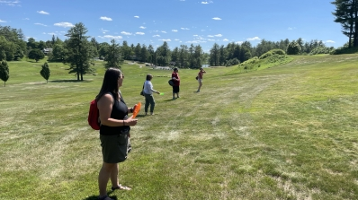 SWC staff ready to throw on disc golf course