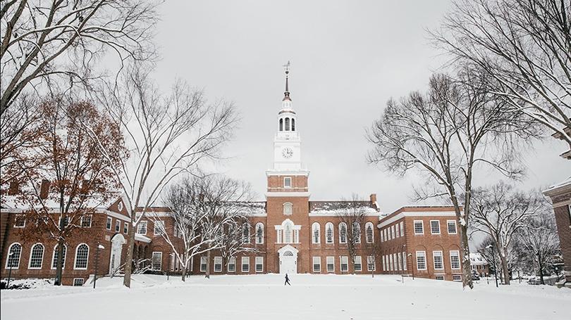 around campus snow Baker in snow