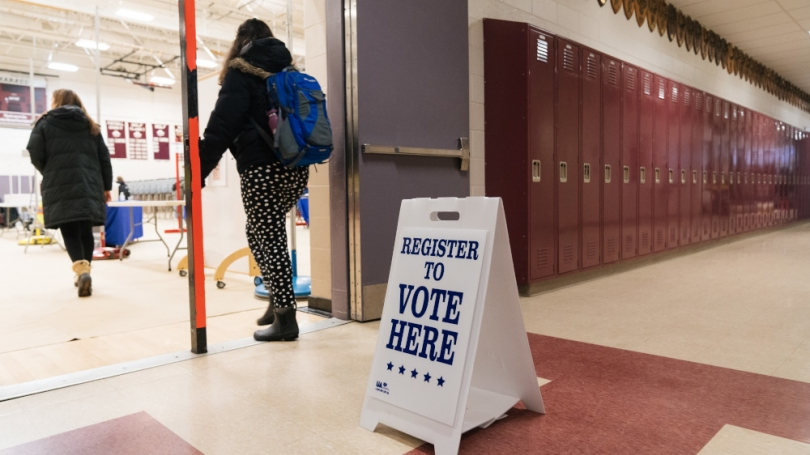 students going to register to vote