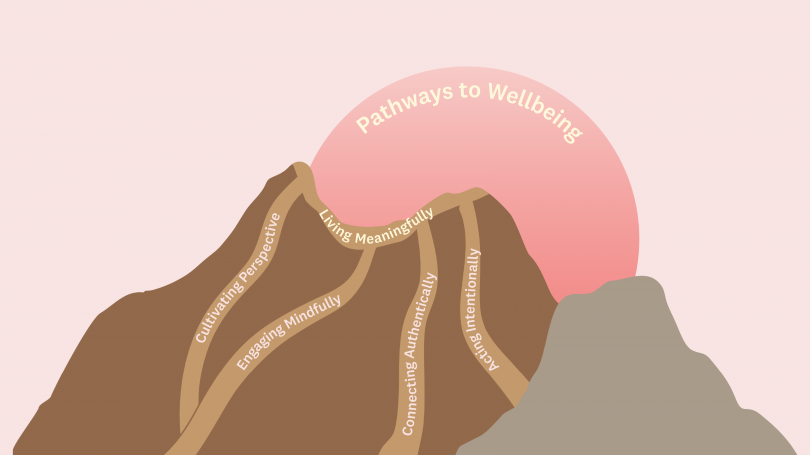 Brown mountain image with pink sun. Pathways going up mountain with text of categories noted below