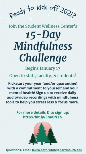 Flyer for 15 day mindfulness challenge